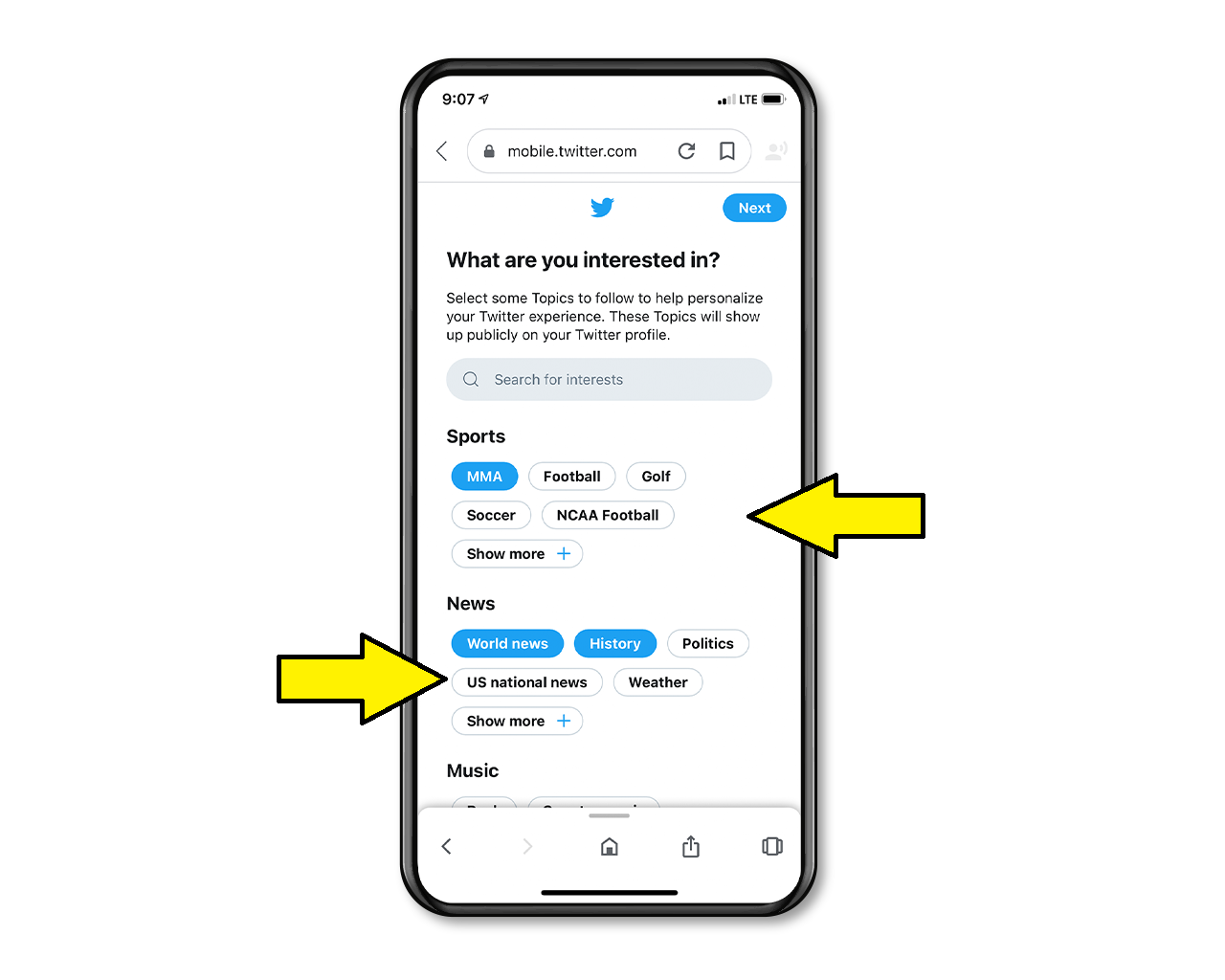 You can see topics that you may continue to follow when you register your Twitter account.